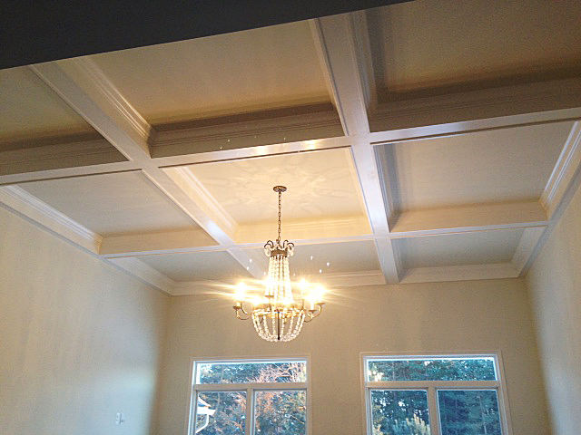 Coffer ceiling with chandelier