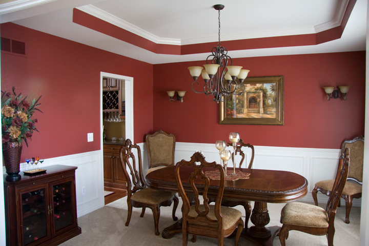 Dining room with ceiling cutaway