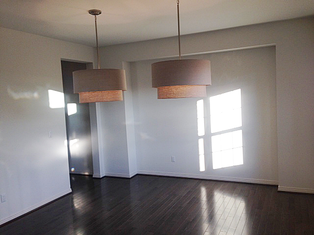 Dining room with dual overhead lamps and hutch area cutout
