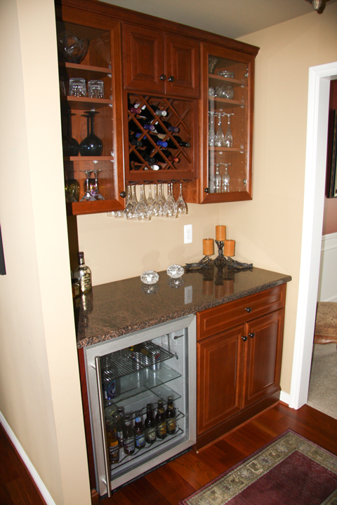 Dry bar with built in wine rack