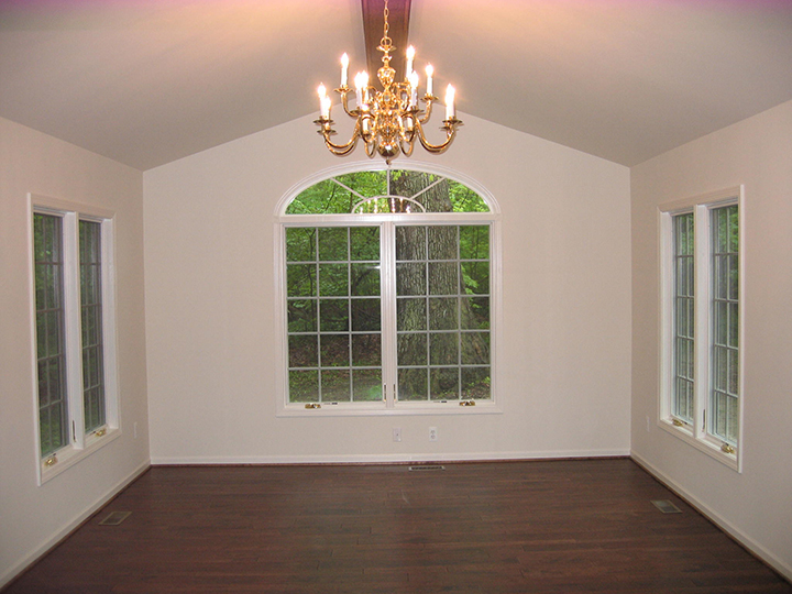 Family room addition with vaulted ceilings