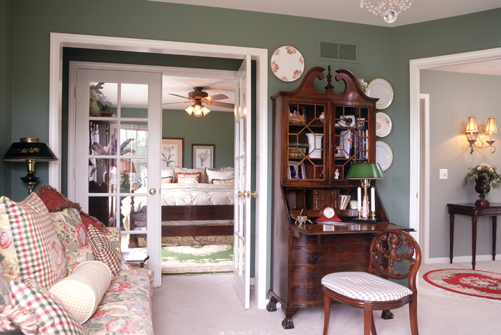 First floor master bedroom with french door entry