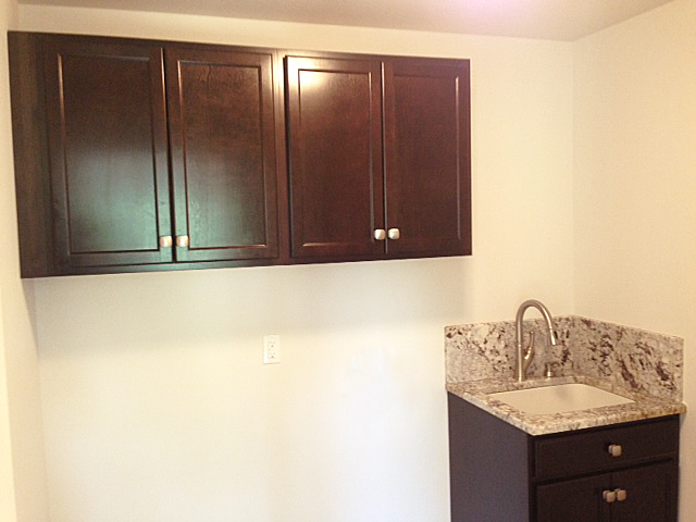 Laundry room with dark cabinetry