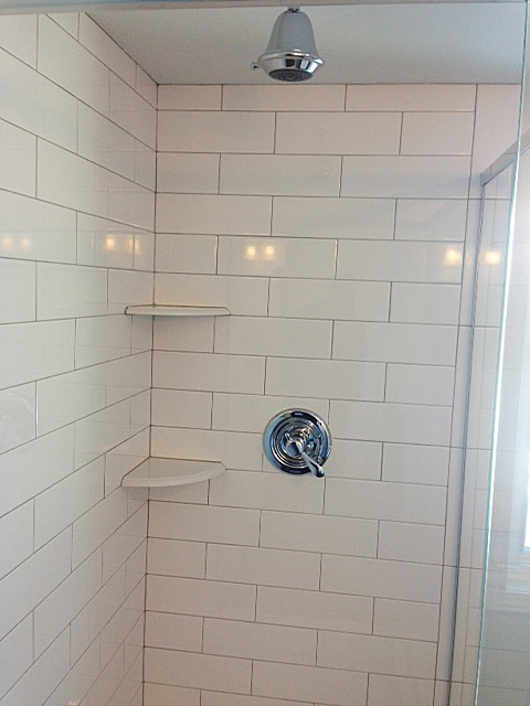 Master bath shower with subway tile