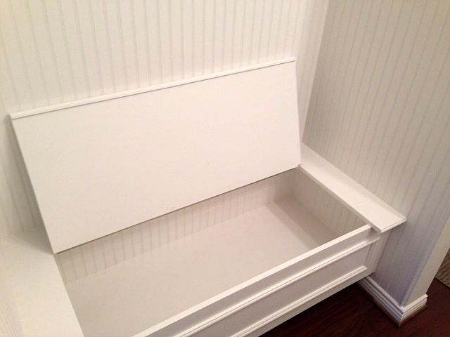 Mudroom bench with storage space inside