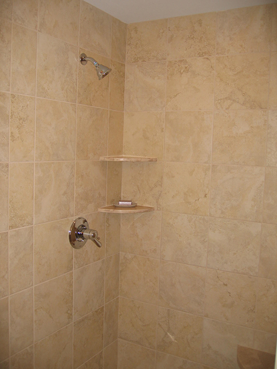 Shower with built in shelves