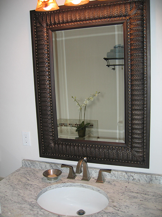 Vanity with picture frame mirror