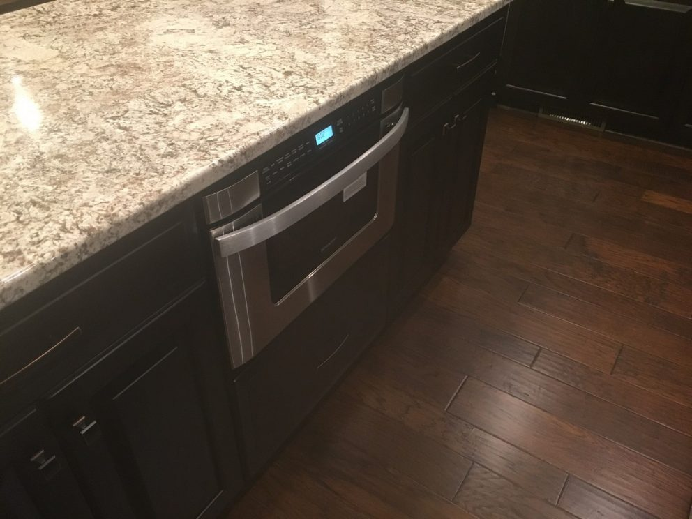 Built in drawer micro oven inside kitchen island