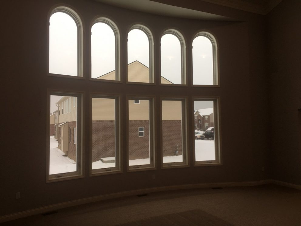 Great room window built into bowed wall