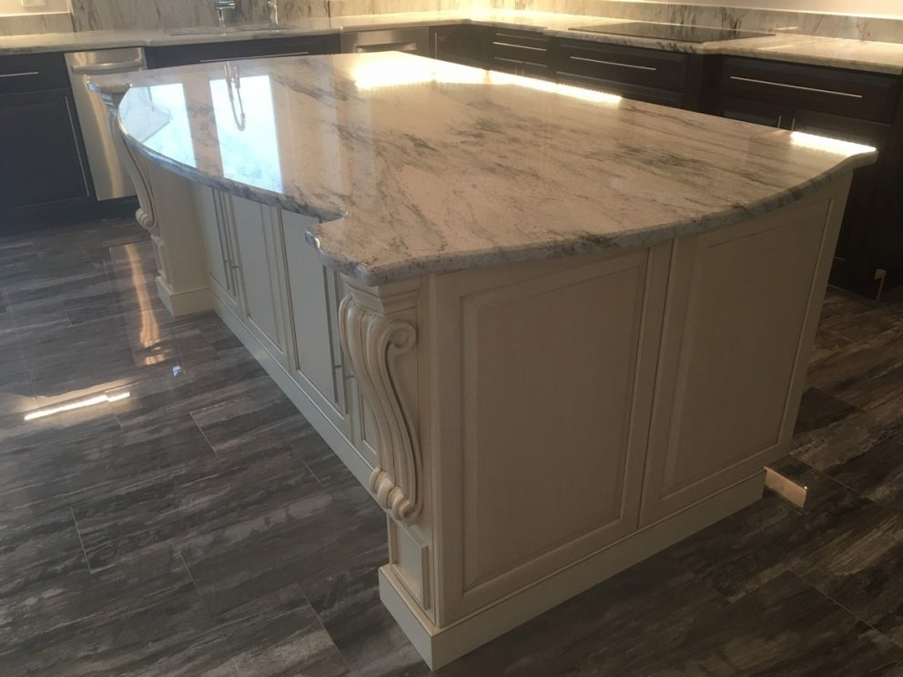 Kitchen island with marble counter top